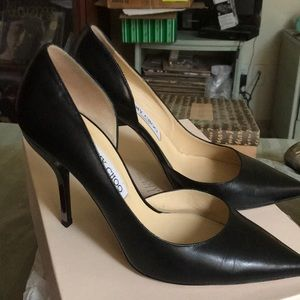 Jimmy Choo Willis Black Kid Leather Stilettos
